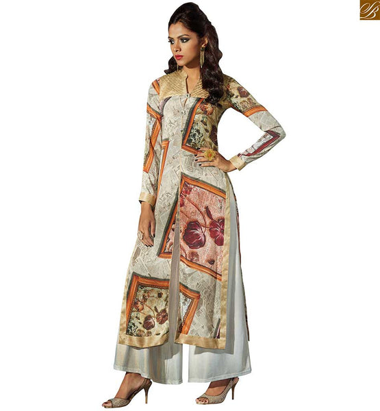 Indian latest kurtis pattern of digital prints current fashion off-white fawn silk crepe long sleeve kurti with middle side piping, border work on lower part Image