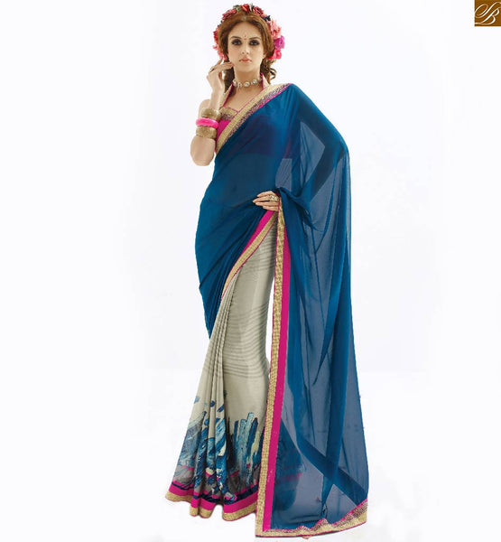 Half saree designer wear along with designer blouses designs blue, cream georgette and chiffon eye catching printed saree with pink stylish blouse