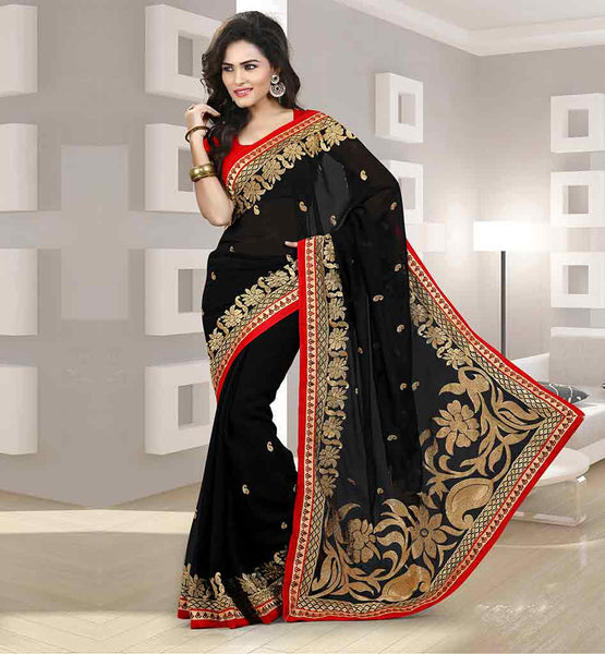 EMBROIDERY WORK PARTY WEAR CHIFFON SARI WITH BLOUSE AWESOME BLACK SARI WITH COPPER METALLIC YARN EMBROIDERY AND SMALL BUTTIS