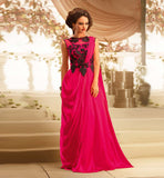 TRENDY 2015 LOOK PINK SATIN GEORGETTE GOWN JUST LIKE HOLLYWOOD STARS