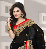 AWESOME BLACK SARI WITH COPPER METALLIC YARN EMBROIDERY AND SMALL BUTTIS EXCITING CHIFFON  RICH BORDER SARI WITH PURE DUPION BLOUSE
