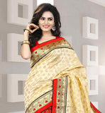 SMART COLOR COMBINATION RED AND CREAM SARI WITH BLOUSE SAREE WITH RICH SELF DESIGNING AND ATTRACTIVE LACE BORDER