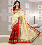 DESIGNER PARTY WEAR CHANDERI SILK SARI CHOLI DESIGN SMART COLOR COMBINATION RED AND CREAM SARI WITH BLOUSE