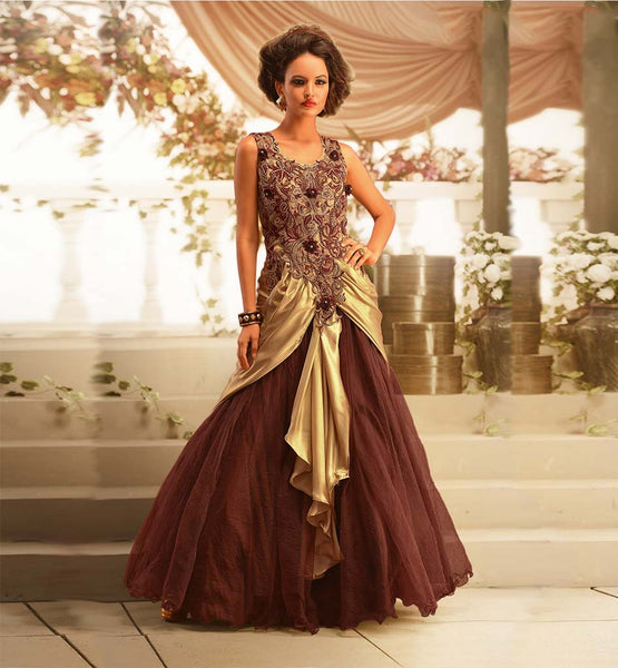 LATEST DESIGNER INDIAN GOWN BROWN & BEIGE SATIN GEORGETTE WITH NET