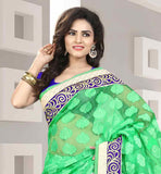 GORGEOUS GREEN SARI WITH FLORAL DESIGNING AND CONTRAST BLUE BLOUSE  EYE-CATCHING SILK SARI WITH PURE DUPION BLOUSE ENRICHED WITH NICE BORDER LOOK