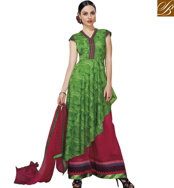 STYLISH BAZAAR MAGNIFICENT GREEN SALWAR KAMEEZ PLAZZO STYLE VDELT10543