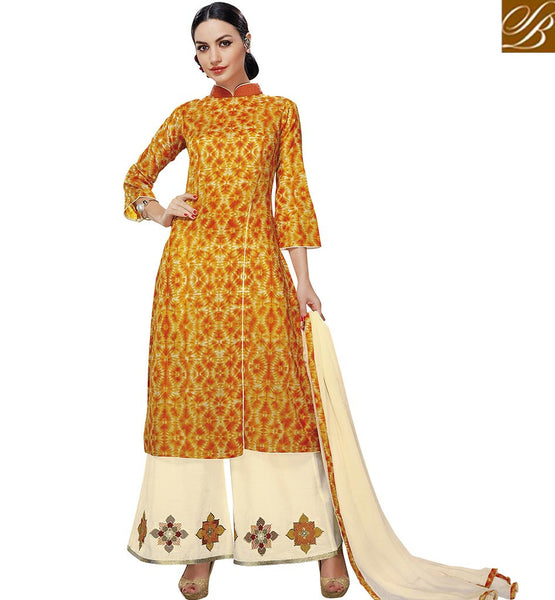 STYLISH BAZAAR ADMIRABLE YELLOW DESIGNER SUIT WITH KURTI AND CREAM PLAZZO VDELT10544
