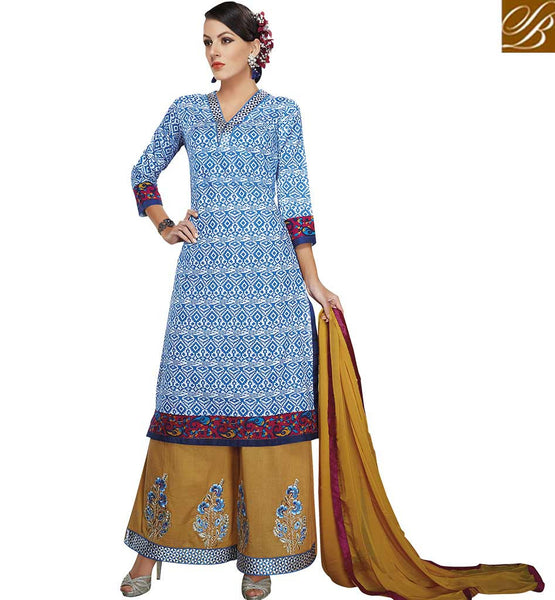 STYLISH BAZAAR ANGELIC OFF WHITE AND BLUE DEGIGNER KURTI AND MUSTARD PLAZZO VDELT10545