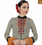 FROM STYLISH BAZAAR MAGNIFICENT BLACK AND CREAM STRIP SPLIT KURTI WITH SALWAR VDELT10547