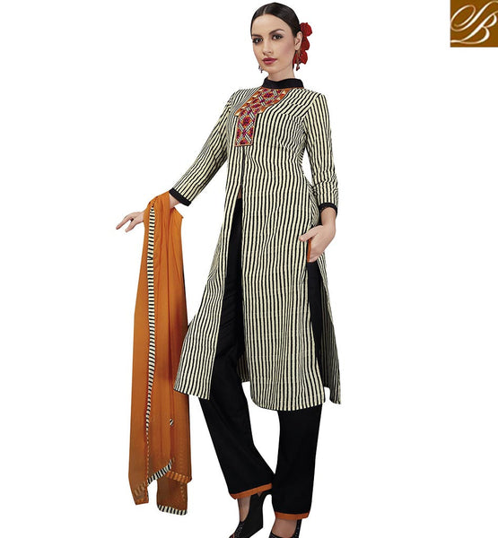 STYLISH BAZAAR MAGNIFICENT BLACK AND CREAM STRIP SPLIT KURTI WITH SALWAR VDELT10547