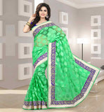 2015 STYLE SILK PARTY WEAR SAREE WITH BLOUSE GORGEOUS GREEN SARI WITH FLORAL DESIGNING AND CONTRAST BLUE BLOUSE
