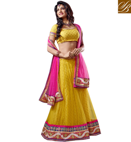 WEDDING WEAR GHAGRA CHOLI ONLINE SHOPPING IN INDIA YELLOW SOFT NET.