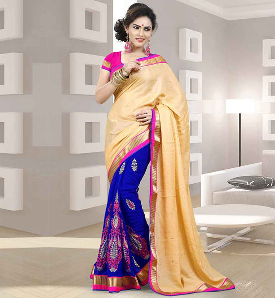 BUY ONLINE INDIAN DESIGNER SARI BLOUSE FOR PARTIES EMBROIDERY WORK BLUE AND BEIGE SARI WITH PINK BLOUSE