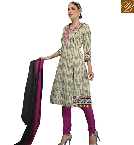 STYLISH BAZAAR EMPHATIC CREAM AND MAGENTA PRINTED SALWAR KAMEEZ VDELT10550