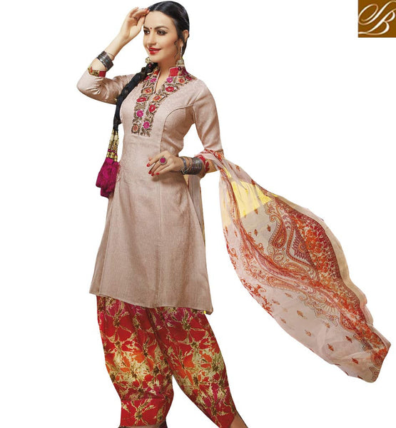 STYLISH BAZAAR ELEGANT PEACH COLOUR EMBROIDERED SALWAR KAMEEZ VDELT10553