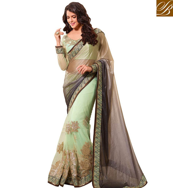 STYLISH BAZAAR STUNNING COFFEE COLORED LYCRA HALF AND HALF SAREE WITH DESIGNER BLOUSE VDTMN10556