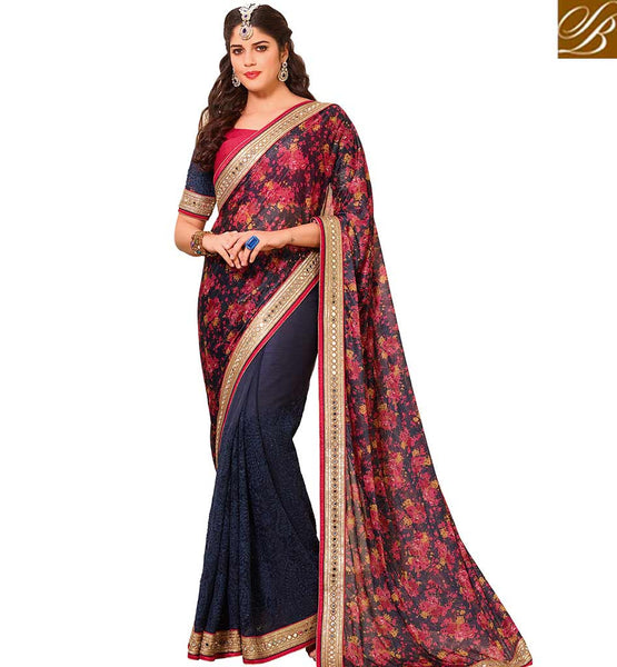 STYLISH BAZAAR SPLENDID HALF AND HALF LYCRA SAREE WITH BEAUTIFUL WORK ON THE BLOUSE VDTMN10557