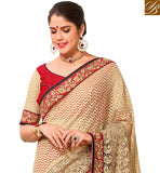 BROUGHT TO YOU BY STYLISH BAZAAR ATTRACTIVE BEIGE COLORED WEAVING NET HALF AND HALF SAREE VDTMN10559