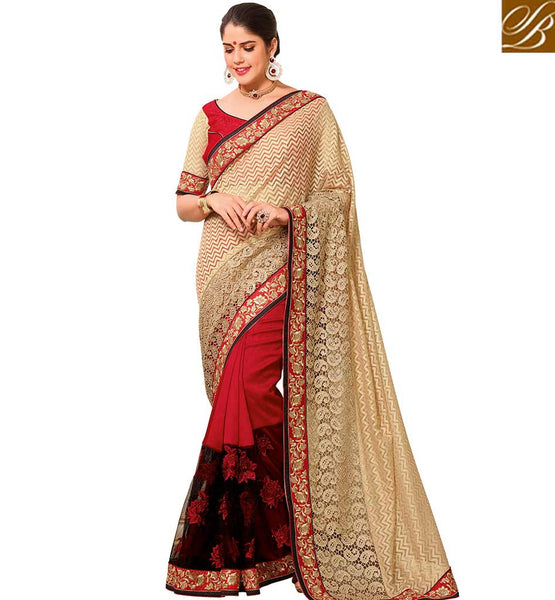 STYLISH BAZAAR ATTRACTIVE BEIGE COLORED WEAVING NET HALF AND HALF SAREE VDTMN10559