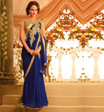 STUNNING INDO WESTERN FUSION GOWN ROYAL BLUE BAMBERG GEORGETTE