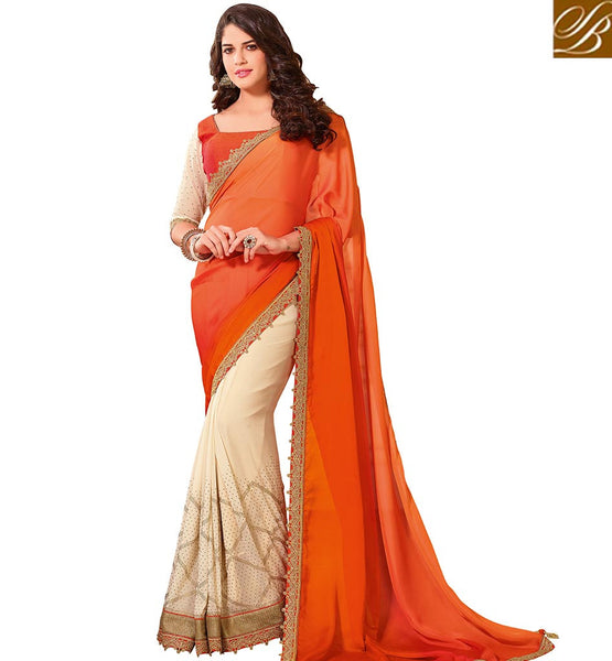 STYLISH BAZAAR EYE CATCHING ORANGE COLORED BANGLORI ART SILK HALF AND HALF SAREE WITH BEAUTIFUL LACE BORDER VDTMN10560