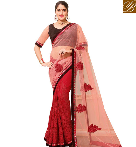 STYLISH BAZAAR STRIKING LIGHT RED COLORED NET HALF AND HALF SAREE VDTMN10561