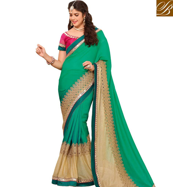 STYLISH BAZAAR MAGNIFICENT GREEN & BEIGE COLORED BANGLORI ART SILK & LYCRA SAREE WITH EYE CATCHING BORDER WORK VDTMN10562