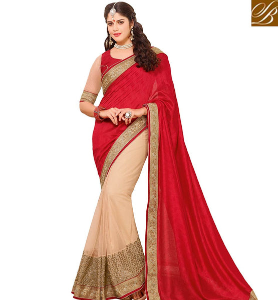 STYLISH BAZAAR DAZZLING RED COLORED ART SILK HALF AND HALF SAREE WITH BEAUTIFUL LACE BORDER VDTMN10563