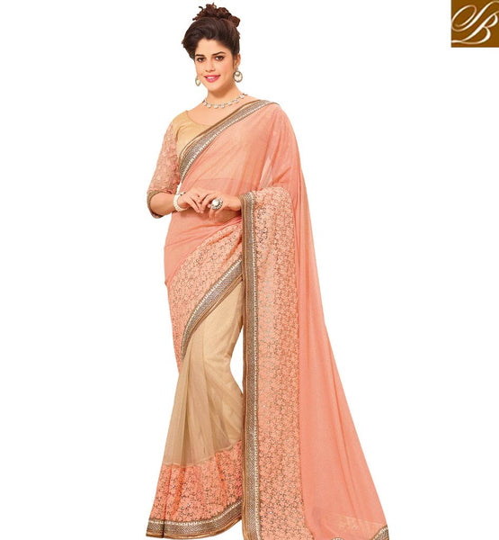 STYLISH BAZAAR ALLURING PEACH COLORED LYCRA SAREE WITH GLITTERY BORDER WORK VDTMN10564