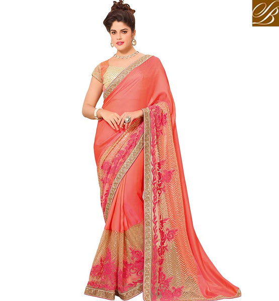 STYLISH BAZAAR CHARMING LIGHT ORANGE COLORED BANGLORI ART SILK SAREE WITH GREAT BORDER WORK VDTMN10566