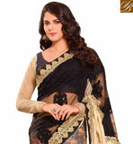APPEALING BLACK & BEIGE COLORED KASTURI ART SILK NET & VISCOSE SATIN SAREE VDTMN10567