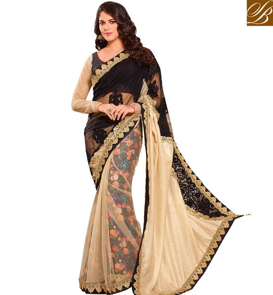STYLISH BAZAAR APPEALING BLACK & BEIGE COLORED KASTURI ART SILK NET & VISCOSE SATIN SAREE VDTMN10567