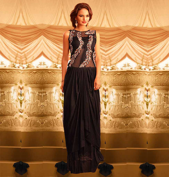 EVER STYLISH BLACK RICH DESIGN MAXI DRESS GOWN AT UNBELIEVABLE PRICE VDSIG1056