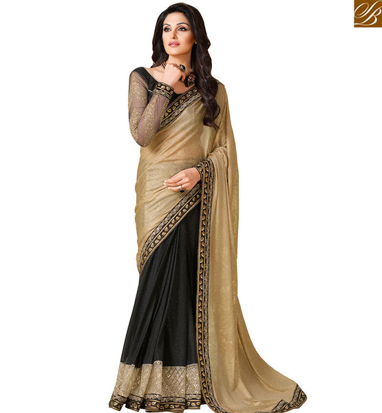STYLISH BAZAAR GORGEOUS GOLDEN & BLACK COLOR HALF & HALF SAREE WITH BEAUTIFUL BLOUSE AND BORDER VDEXT10584