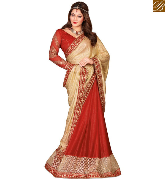 STYLISH BAZAAR BEAUTIFUL RED & GOLDEN HALF & HALF SAREE WITH GLITTERY BORDER AND BLOUSE VDEXT10586