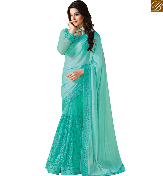 STYLISH BAZAAR STUNNING DESIGNER SKY BLUE COLOR LYCRA NET SAREE WITH AN ATTRACTIVE DESIGN VDEXT10587