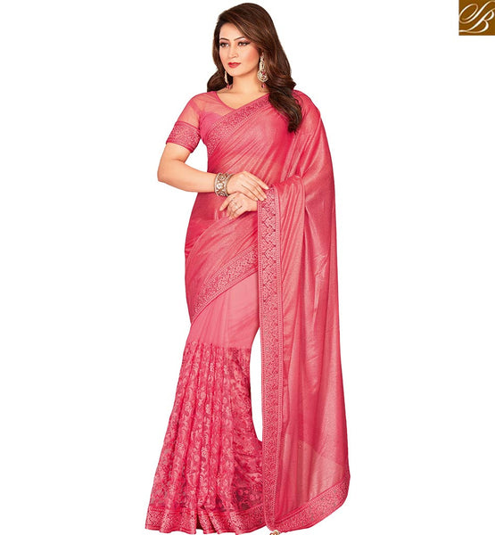 STYLISH BAZAAR EXQUISITE DESIGNER PINK COLOR LYCRA NET SAREE WITH SPLENDID DESIGN VDEXT10588