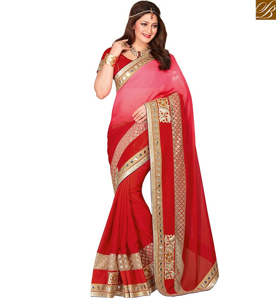 DAZZLING RED COLOR CHIFFON ART SILK SARI WITH BEAUTIFUL BORDER DESIGN VDEXT10591