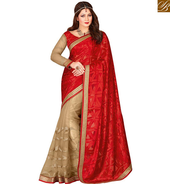 STYLISH BAZAAR ADMIRABLE RED COLORED HALF & HALF ART SILK SAREE VDEXT10594