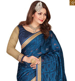 STYLISH BAZAAR INTRODUCES ASTONISHING NAVY BLUE COLORED DESIGNER HALF & HALF SAREE VDEXT10595