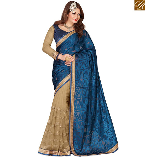 STYLISH BAZAAR ASTONISHING NAVY BLUE COLORED DESIGNER HALF & HALF SAREE VDEXT10595