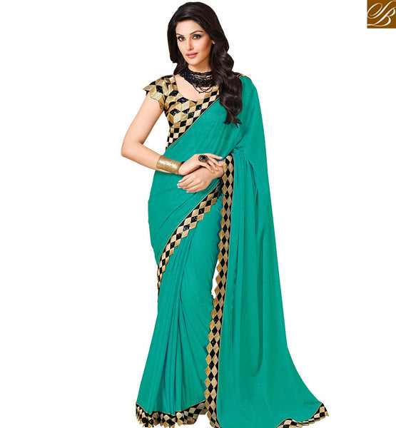 STYLISH BAZAAR MARVELLOUS SEA GREEN COLORED DESIGNER ART SILK SAREE VDEXT10596