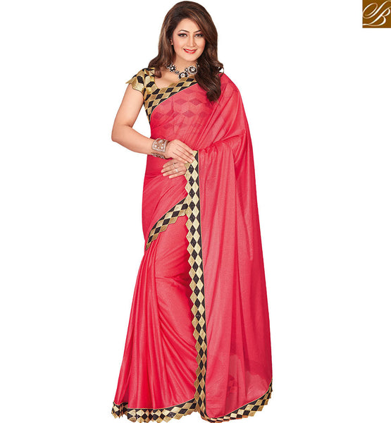 STYLISH BAZAAR LUSTRE PINK COLORED LYCRA ART SILK SAREE WITH DESIGNER BLOUSE VDEXT10597