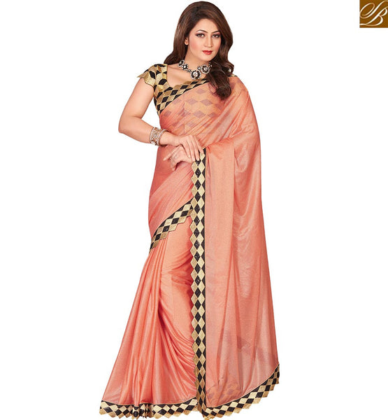 STYLISH BAZAAR MAJESTIC PEACH COLORED LYCRA ART SILK SAREE VDEXT10598