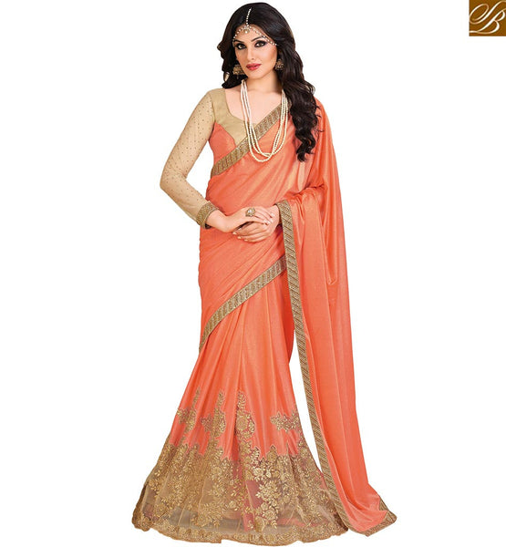 GRACEFUL DESIGNER ORANGE COLORED LYCRA NET ART SILK SAREE VDEXT10599
