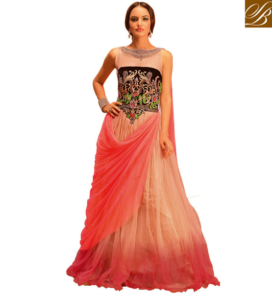 EVENING WEAR GOWN ONLINE SHOPPING INDIA SHADED NET WEDDING MAXI