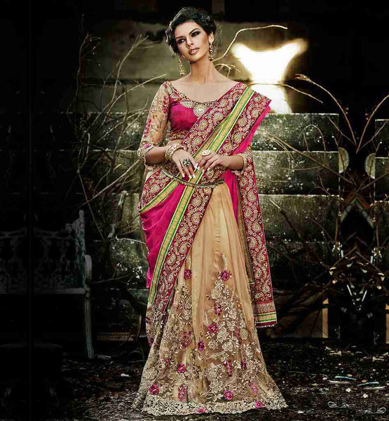 BUY BLOUSE DESIGN PATTERNS BACK NECK SAREE DESIGN PATTERNS DRAPING STYLES FOR WEDDING | LOVELY BEIGE AND PINK STYLISH WEDDING WEAR PREMIUM SAREE ONLINE SHOPPING