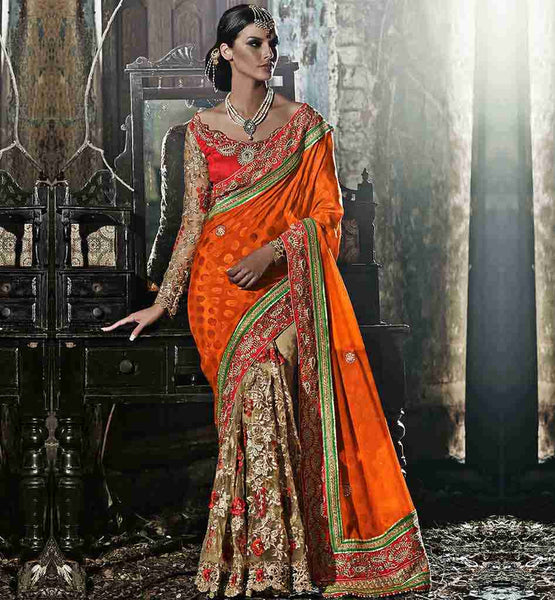 BLOUSE DESIGNING SUITABLE WITH FANCY CREPE JACQUARD DESIGNER SAREES