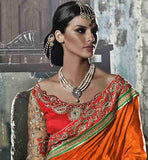 ATTRACTIVE BEIGE AND ORANGE TRENDY WEDDING COLLECTION SARI