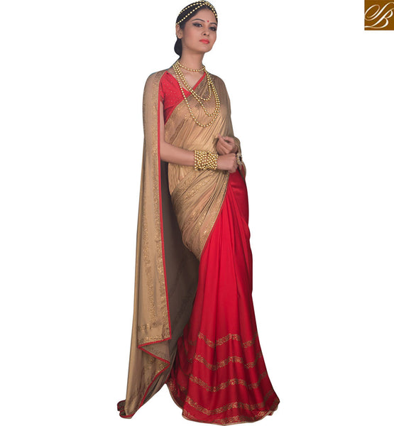 A STYLISH BAZAAR TRENDY SAREE AND BLOUSE DESIGN FOR PARTIES RTBTQ105B